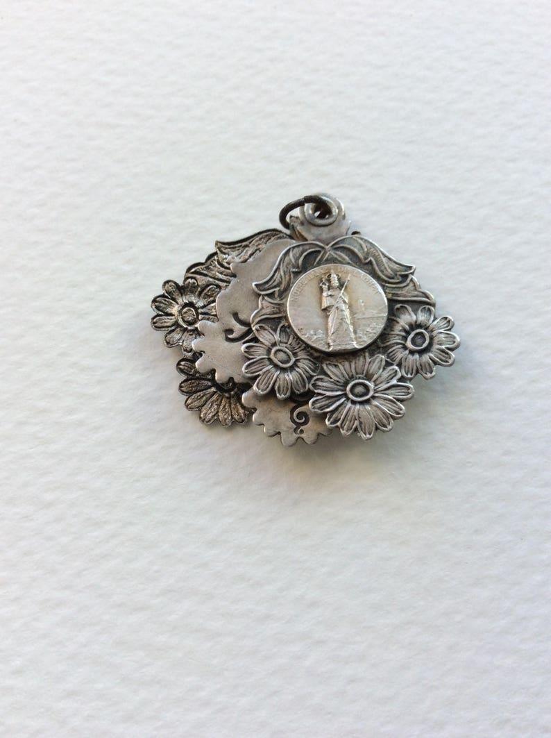 Momento mori Vintage locket. Religious medal Religious locket Sliding locket French medallion French locket Mourning jewelry