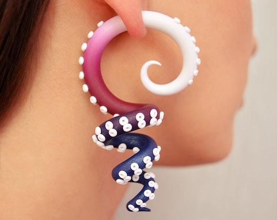 Kraken Tentacle Earrings Visual Kei Salander Fake Plugs Cyber Etsy