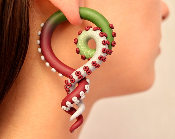 Color Fade Tentacle Gauges Fake Plugs And Ear Plugs From 2g Etsy