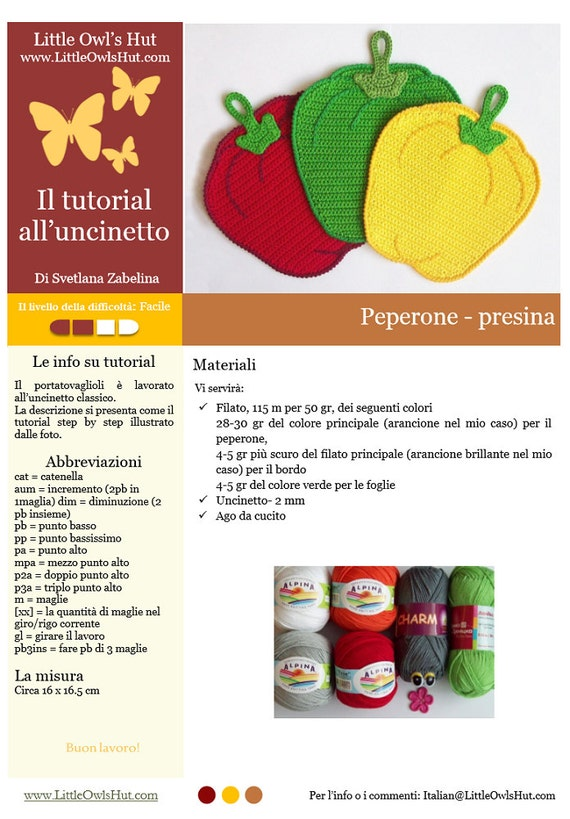 Punto Crochet All Uncinetto.070it Il Tutorial Alluncinetto Peperone Presina Amigurumi Etsy