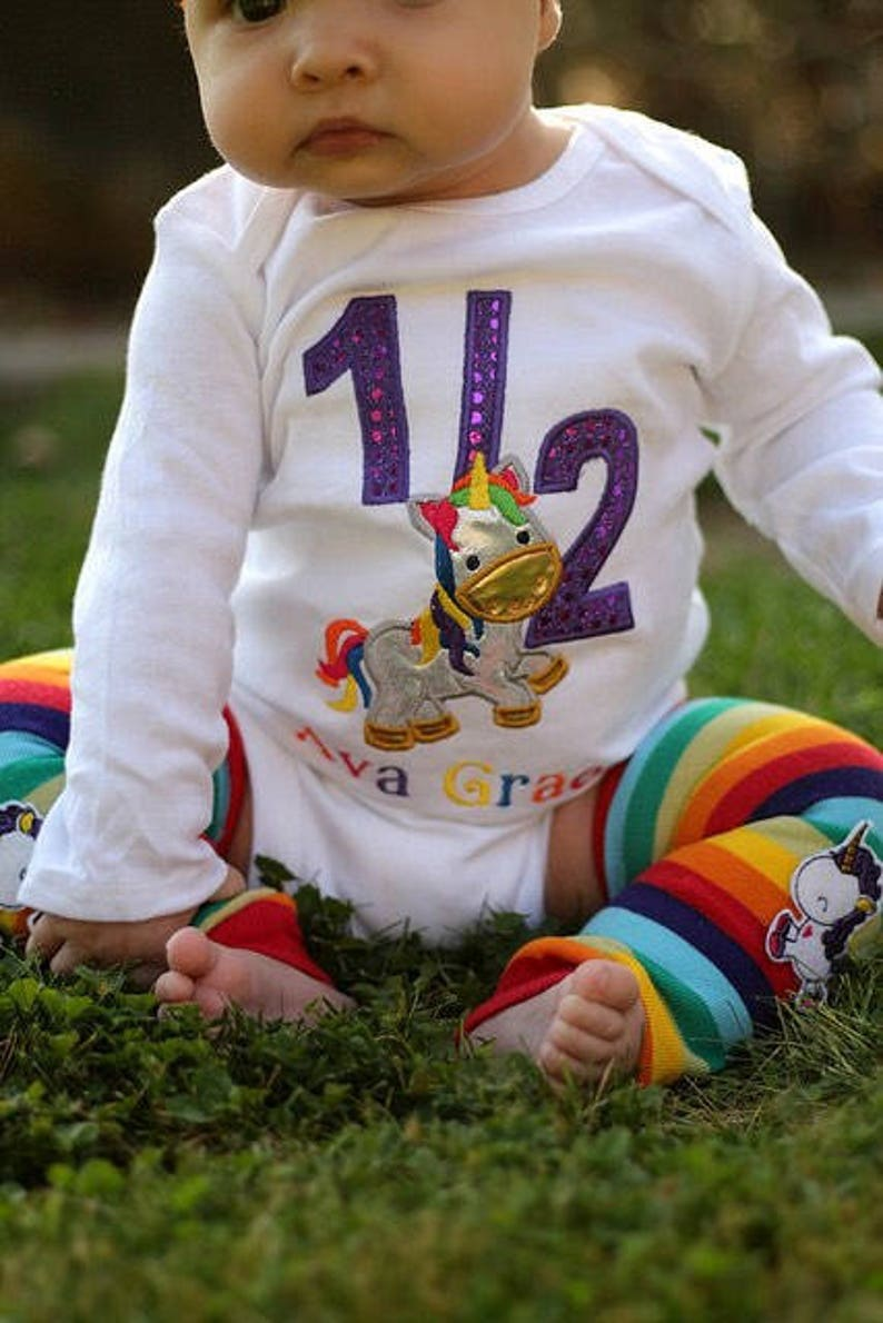 af974c4d8 Unicorn half birthday embroidered body suit or shirt with | Etsy