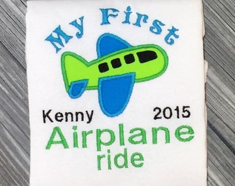My First Airplane Ride Embroidered Shirt or Bodysuit! Personalized with childs name and year. Perfect vacation shirt, Babys first vacation