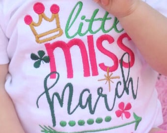 Little Miss March personalized shirt or onesie, march birthday shirt, march birthday idea, irish girl, shamrock baby