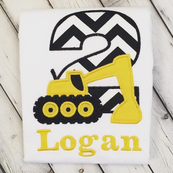 Construction Excavator 2nd Birthday Personalized Shirt Or