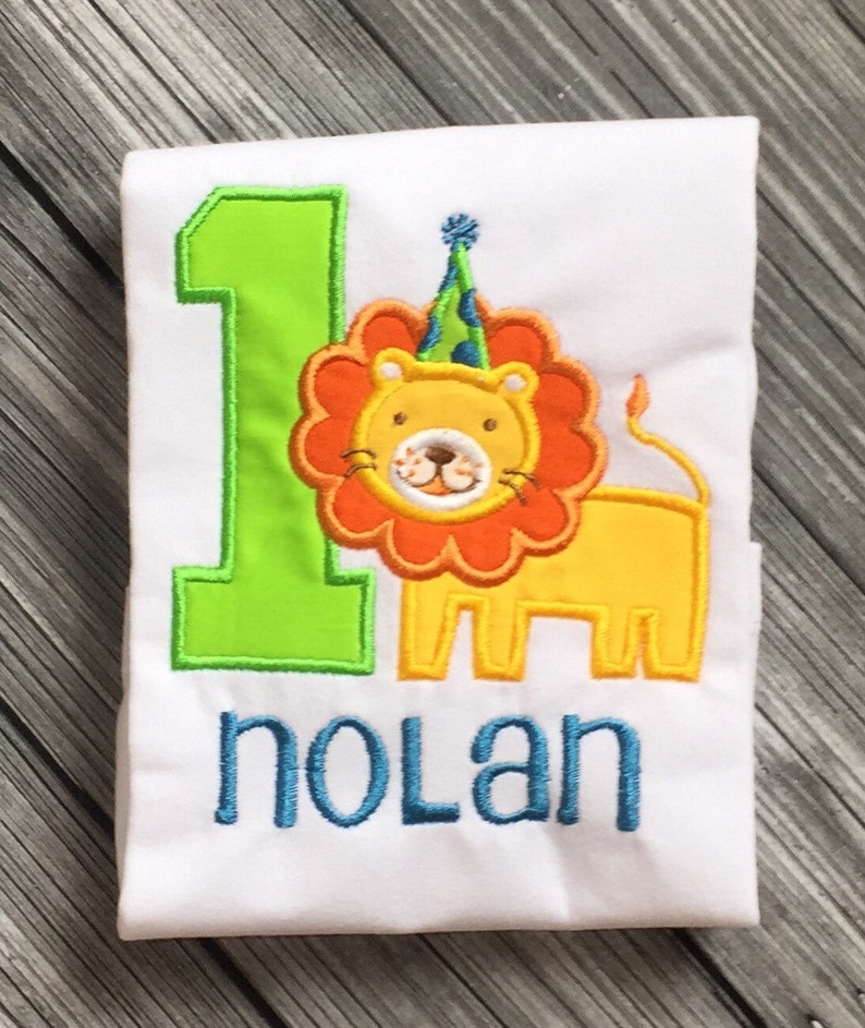 First Birthday Cake Smash Outfit Lion 1st Birthday Personalized Embroidered Shirt or Onesie Lion Theme Circus themed birthday shirt