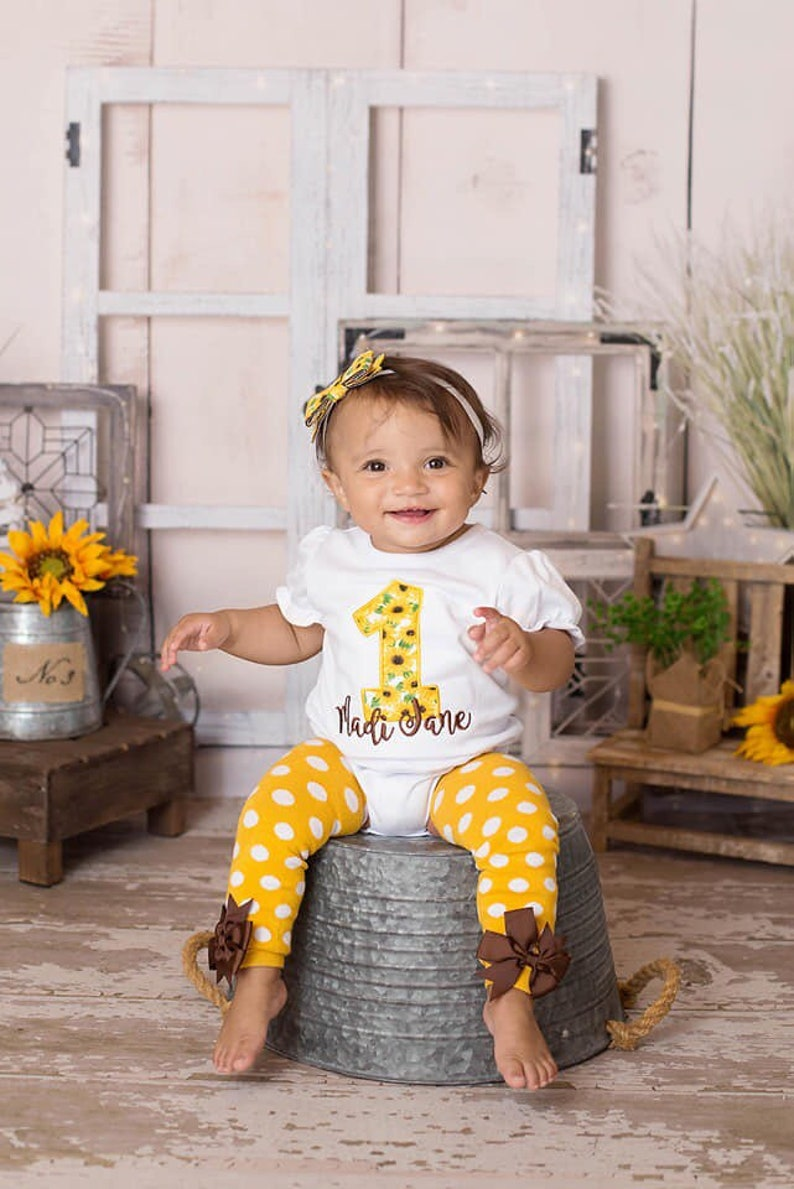 Sunflower first birthday personalized embroidered shirt onesie bloomers bib Girl first birthday outfit cake smash leg warmers with bows