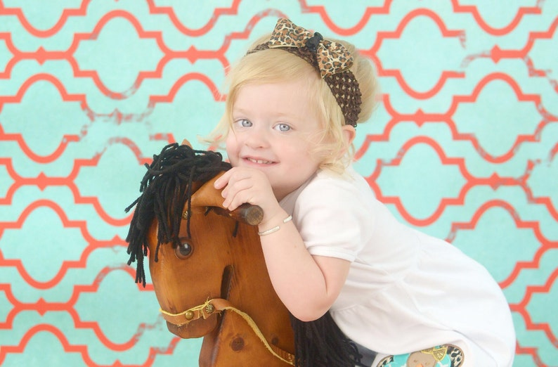 Cheetah print Headband Boutique Style Bow on Crochet Headband Birthday Photo Prop Baby Gir Fits up to 2 years old Birthday Headband