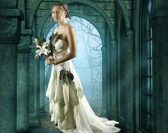 Woodland Fairy Wedding Dress.  Alternative Wedding Dress.  Adult Flower Fairy Costume. Burning Man. Nuno Felted Bridal Dress. Wearable Art.