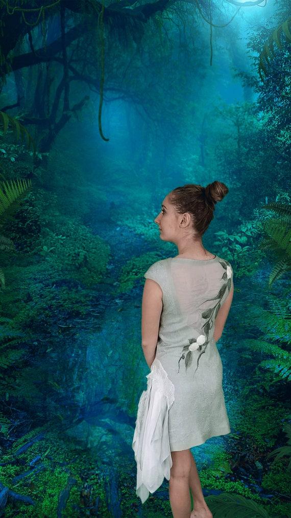 Short Sage Woodland Fairy Alternative Wedding Dress. Nuno