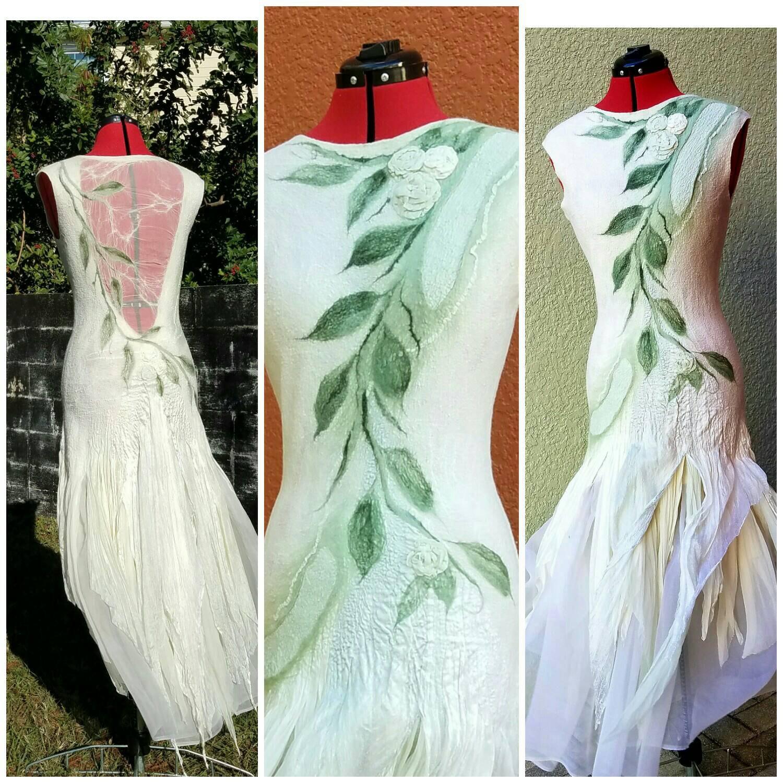 Woodland Fairy Dress. Nuno Felted Alternative Wedding Gown