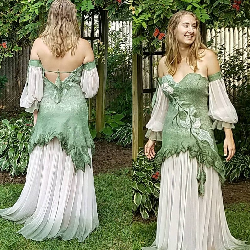 4e9e78aa6f15b Woodland Fairy Dress in Sage Green and Blush Silk. Ready to Ship. Felted  Adult Fairy Costume. Renaissance Fairy Dress. Medieval Bridal Gown.