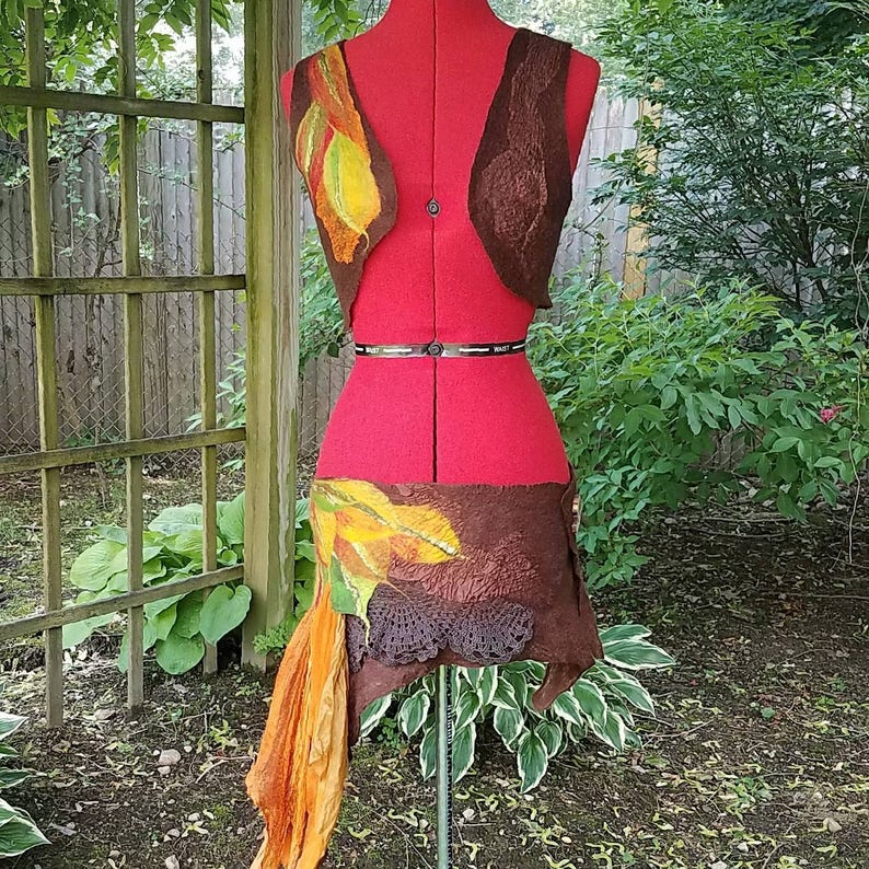 Autumnal Fae Festival Wear. Adult Woodland Fairy Costume Asymmetric Pixie Skirt and Vest Felted Elven Pixie Skirt and Top in Fall Colors