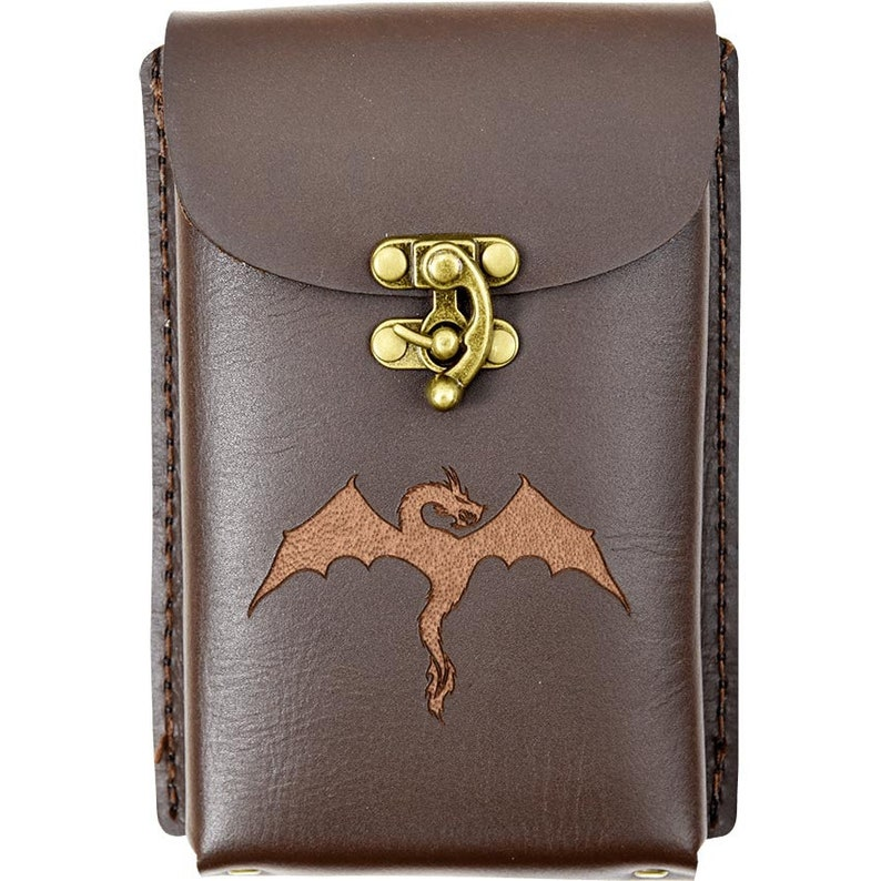 #DK7128 Medieval Holder Leather Accessory Dragon Leather Phone Holder with Clasp