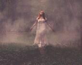 Walking Through Fog in Forrest Fine Art Photo Print