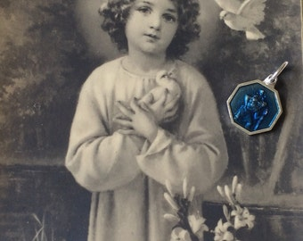 1980's Blue Enamel St Christopher Medal
