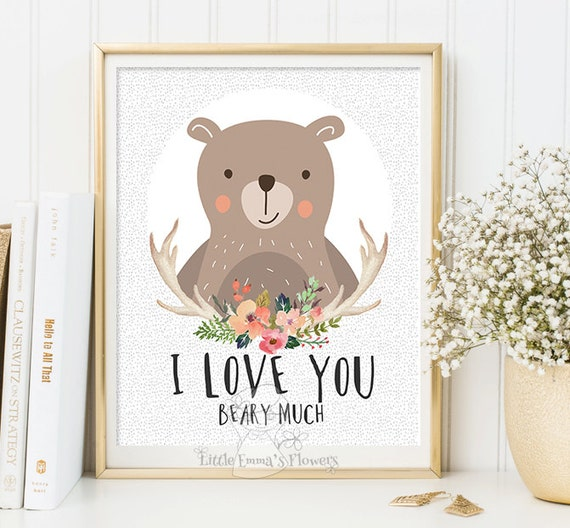 Woodland nursery wall art illustration with bear decorating baby room wall  ideas unique kids decor present for newborn cute themes 114-119