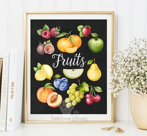 garden plants culinary print fruits print kitchen wall art | etsy