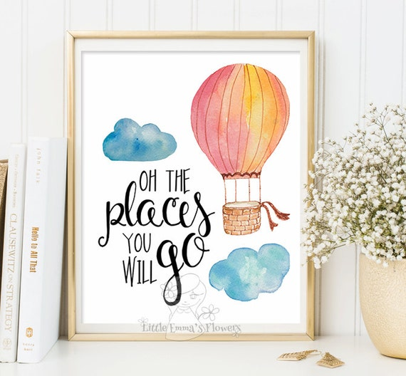 Hot Air Balloon Nursery Adventure Quote Modern Rustic Decor Etsy