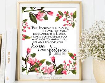Nursery decor scripture art For I know the plans Printable Bible verse art Jeremiah 29 11 scripture print watercolor nursery download 111