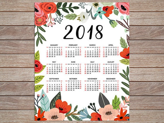 2018 calendar poster planner 12 month 2018 yearly desk