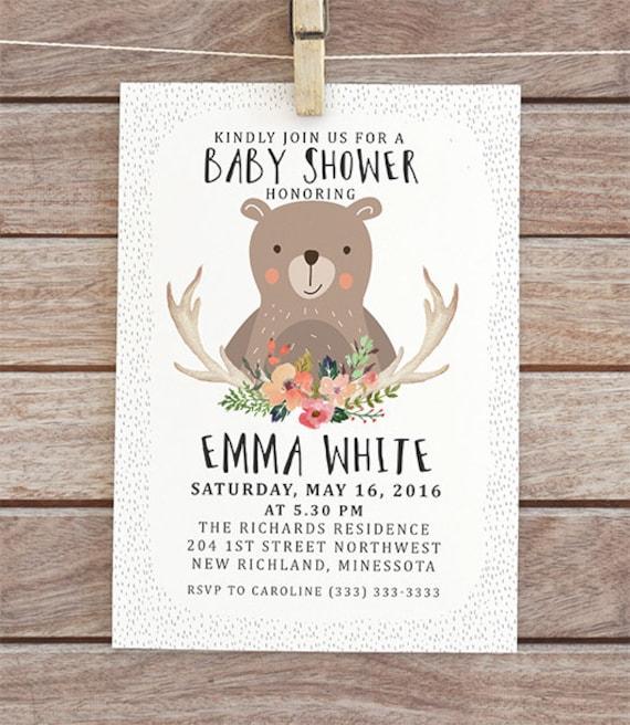 Woodland Baby Shower Invitation Digital Baby Shower Invite Etsy