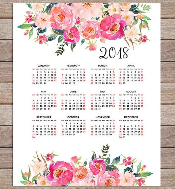 printable calendar 2018 yearly desk calendar poster classroom etsy