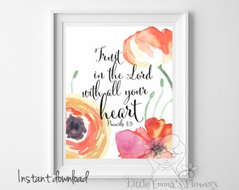 Bible verse print trust in the lord with all your heart printable proverbs 3 5 Christian home decor scripture print wall decor ID16-18