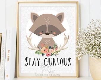 nursery wall art, printable kid gift, stay curious, woodland nursery, nursery decorations, raccoon illustration nursery quotes for kids 114