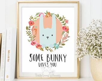 rabbit illustration Woodland Nursery wall art Some bunny loves you print Wall art Decor nursery decoration quotes bunny valentines print 114