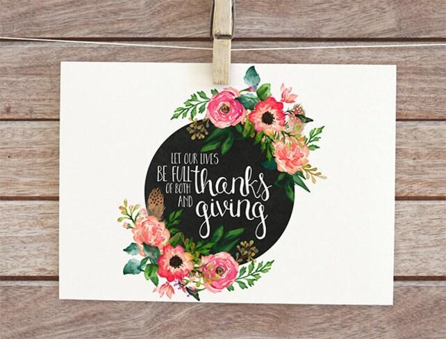 Thanksgiving card, printable greeting, thanks and giving, holiday card, printable thanksgiving, digital fall card, give thanks card 6-4