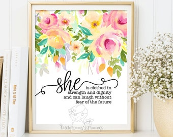 she is clothed in strength and dignity proverbs 31 25 nursery bible verse print decor scripture nursery christian wall art decor 3-133