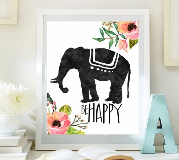 Inspirational Art Elephant Print Be Happy Teen Room