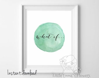 Minimalist print Mint Wall decor print what if Quote Print Printable wall art mint decor poster calligraphy art digital typography  6-if5