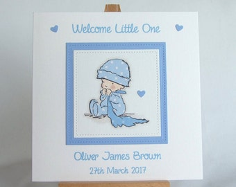 new baby card personalised card handmade baby card new baby boy card baby boy card blue baby card congratulations new baby card