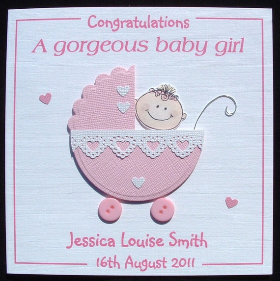 New Baby Card New Baby Girl Card Personalised Handmade New Etsy