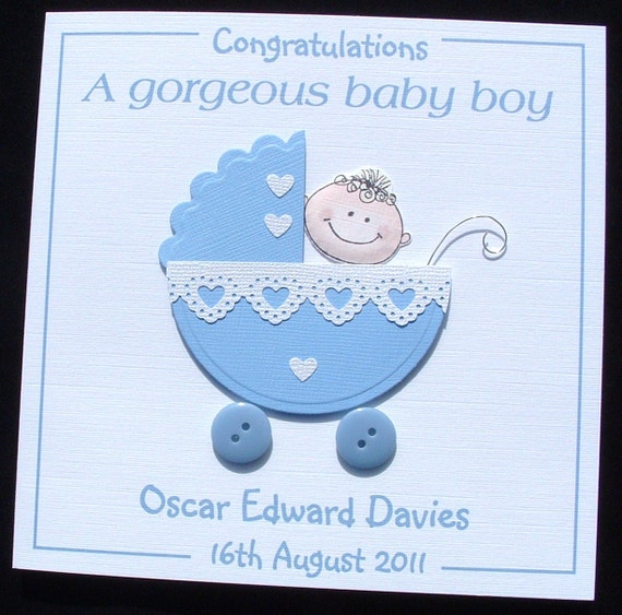Personalised handmade New Baby Boy Card Congratulations a ...