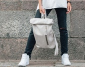 Leather backpack purse Genuine leather roll top backpack Ladies leather rucksack Hipster city backpack