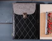 Ereader case Genuine leather Kindle sleeve Wool felt Kindle paperwhite case Handmade Kindle bag Kindle voyage case