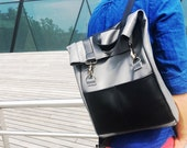 Roll top backpack Grey backpack for men Leather rucksack Hipster leather backpack Grey laptop backpacks