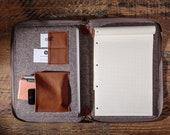 Leather folio Document case Genuine leather organizer Felt laptop case Brown document bag Leather folder Notebook cover