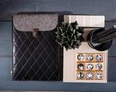 Genuine leather tablet case Felt tablet sleeve Black iPad case Leather tablet cover Custom size bag Business gift