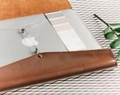 Laptop sleeve Genuine leather laptop 15 inch case Minimalist Brown leather computer case Clear laptop case Transparent bag for laptop