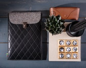 Genuine leather iPad pro 11 sleeve, Black iPad pro case, 11 inch tablet sleeve, Felt tablet case, Leather iPad pro bag, Leather handbag