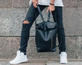 Leather backpack Leather rucksack Handmade Satchel Leather bag roll top backpack custom size backpack Bags and purses Leather backpacks