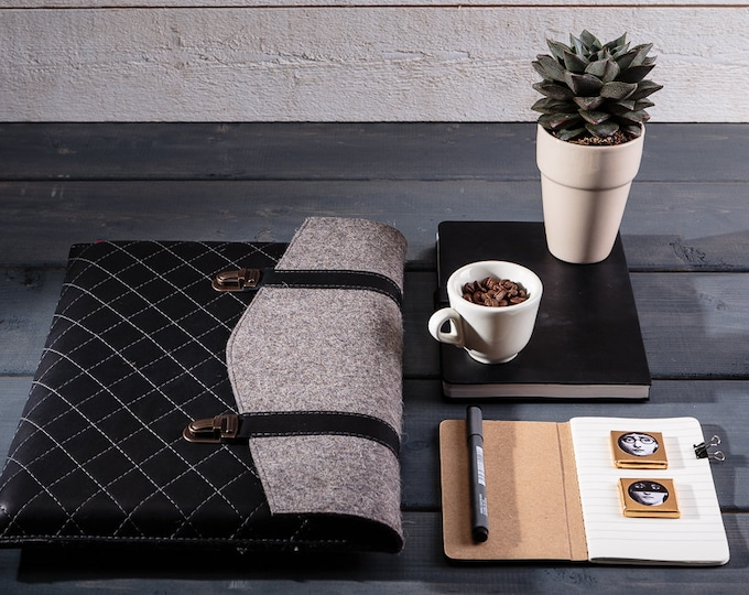 Featured listing image: MacBook Air case Leather handbag Macbook Air 12 case Leather laptop sleeve Macbook Air sleeve Macbook bag Felt sleeve Felted laptop case
