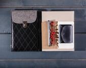 iPad case Leather iPad mini sleeve Wool felt iPad cover Genuine leather bag