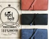 Womens wallet Genuine leather wallet Wrap-around-strap wallet Wrap wallet Leather phone wallet case Felt wallet Leather long wallet