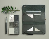 Minimalist women wallet Genuine leather slim wallet clutch Black leather bifold wallet Card holder Ladies travel wallet
