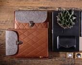 iPad Air 2 case Tablet sleeve Leather iPad sleeve Genuine leather tablet case Felt iPad case Brown slim padded iPad bag