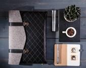 Macbook Air 12 case Leather Macbook Air case Wool felt Macbook sleeve Felted Macbook cover Black quilted bag
